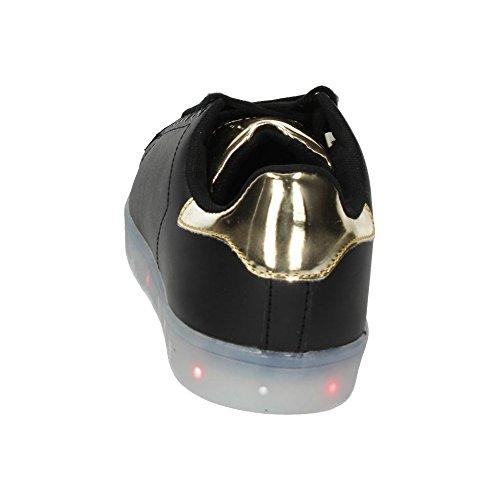DEMAX 7-P7931B2-12 TENIS MODA LUZ USB MUJER NEGRO