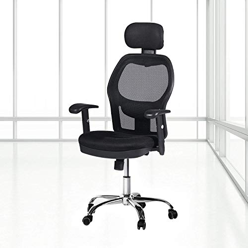 Winmi High Back Mesh Ergonomic Office Chair with Headrest and Armrest, 360 Degree Swivel Executive Computer Desk Task Chair,Back Lumbar Support, Black by Winmi (Image #6)