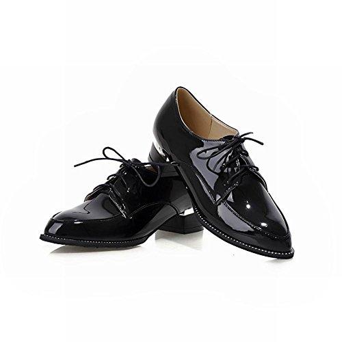 Klassieke Schoenen Damesschoenen Mode Damesschoenen Casual Puntige Neus Dikke Lage Hak Oxfords Schoenen Zwart
