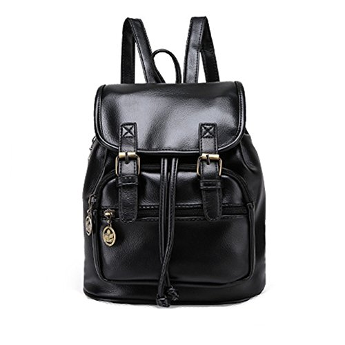 Backpack Shoulder Handbag Women Style School Bookbag Tote DELEY Preppy Black Bag Vintage wqSOaa4