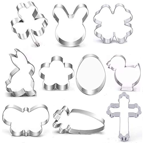 BakingWorld Easter Cookie Cutter Set-10 Piece-Flower,Butterfly,Shamrock,Clover,Chick,Carrot, Egg,Bunny,Rabbite,Cross Shapes Stainless Steel Fondant Molds for Holiday Party Decorations