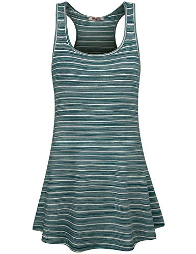 Hibelle Loose Dresses for Women, Juniors Beach Party Dress Summer Racerback Striped Patterned Long Tank Tunic Sleeveless U Neck Aline Pockets Flowy Shirt Sundress Blue White Medium ()