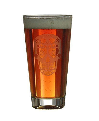 Sugar Skull Engraved Beer/Cider 16oz Pint Glass/Birthday and Anniversary Gift Ideas/By Celery Street (Pint Glass) (Sugar Skull With Hearts on Forehead)