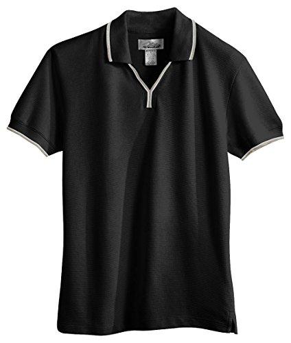 Tri Mountain Womens 60 40 Ultracool Mesh Johnny Collar Golf Shirt  112   Black   Khaki   White L