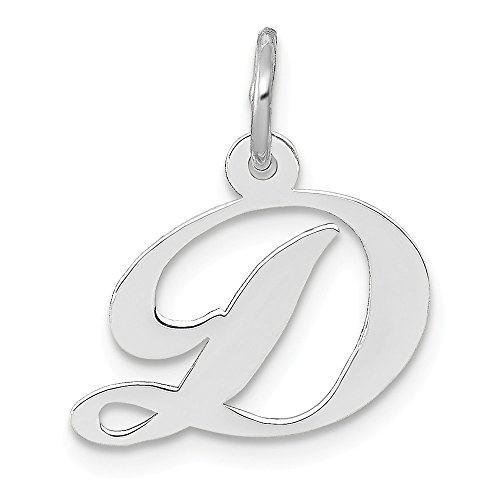 (14k White Gold Small Script Initial Monogram Name Letter D Pendant Charm Necklace Fine Jewelry Gifts For Women For Her)