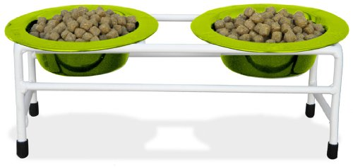 Platinum Pets Double Diner Feeder with Stainless Steel Cat Bowls, 6 oz, Lime