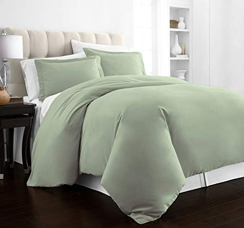 Beckham Hotel Collection Luxury Soft Brushed 2100 Series Microfiber Duvet Cover Set - Hypoallergenic - King/California King - Olive