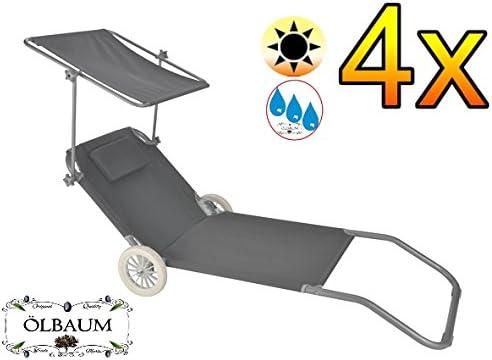 Chaise longue à roulettes Transat pliable plage jardin relaxation pare-soleil
