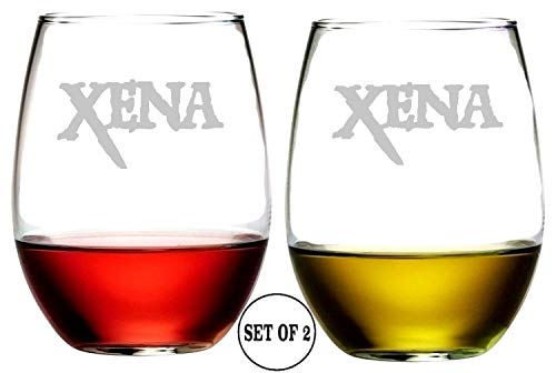 Xena Stemless Wine Glasses | Etched Engraved | Perfect Fun Handmade Present for Everyone | Lead Free | Dishwasher Safe | Set of 2 | 4.25″ High x 3.5″ Wide | (16 Ounces) Review