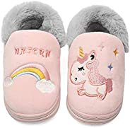 YWY Toddler Boys Girls Warm House Slippers with Faux Fur Lining Little Kids Winter Indoor Household Home Shoes