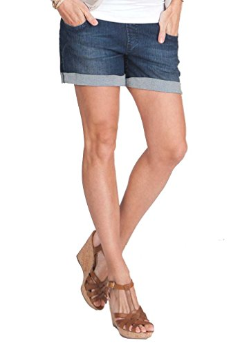 Seraphine Sicily Underbump Maternity Denim Mini Shorts - Blue - 6 - Denim Maternity Shorts