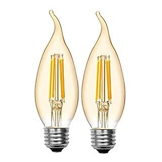 GE Bent Tip LED Vintage Light Bulb, Amber Glass LED Edison Bulb (60 Watt Replacement Dimmable LED Light Bulbs), 400 Lumen, Medium Base Light Bulbs, 2-Pack E26 Edison Bulb