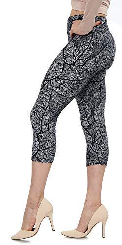 Lush Moda Extra Soft Leggings with Designs- 501C Black White Leaves