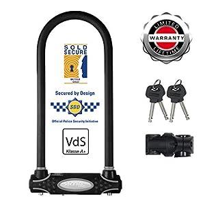 411R08VgQ0L. SS300 Master Lock 8195EURDPROLW Catena U, Ottima per Bicicletta, Elettrica, Bici da Corsa, Nero, Large