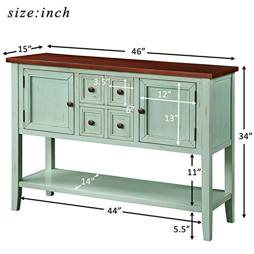 P PURLOVE Console Table Buffet Table Sideboard with Four Storage Drawers Two Cabinets and Bottom Shelf (Blue) by P PURLOVE (Image #2)