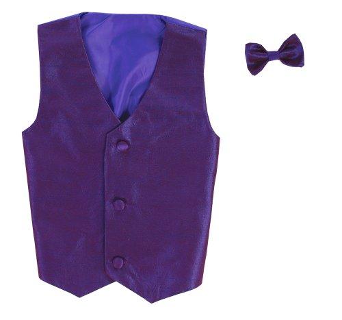 Vest and Clip On Boy Bowtie set - PURPLE - 8/10 ()