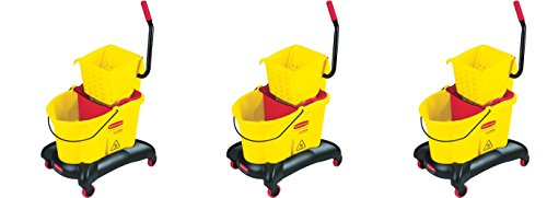 Rubbermaid Commercial WaveBrake Dual Water Mop Bucket and Side Press Wringer Combo, 35-Quart, Yellow, FG768000YEL (3 PACK) by Rubbermaid Commercial Products