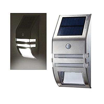 Solar Wall light, Motion Sensor Light Wall Mount Stainless Steel LED Path Light (White Light)