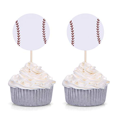 Set of 24 White Baseball Cupcake Toppers for Baseball Party Birthday Baby Shower Picks Decorations ()