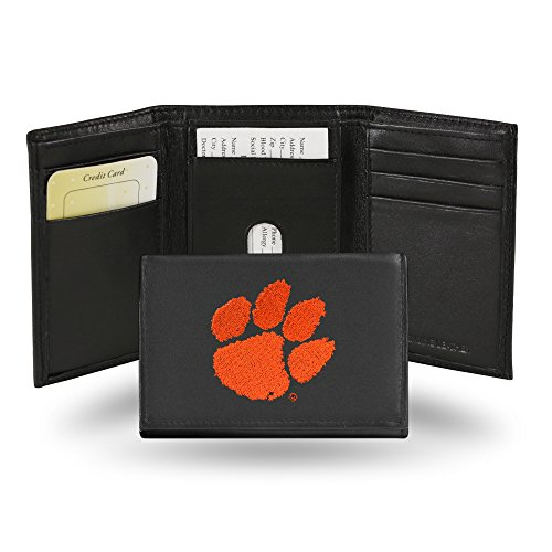 Tigers Tri Fold Leather - Rico Industries NCAA Clemson Tigers Embroidered Leather Trifold Wallet