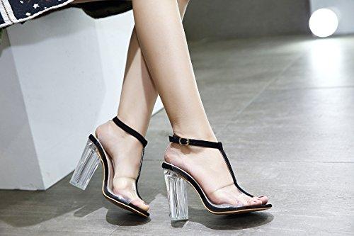 Zapatos RUGAI transparentes sandalias alto sandalias y UE de de tacón t black tacón alto verano de tacones rvpq5Wnwv7