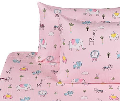J-pinno Elephant Giraffe Zebra Grassland Animals Muslin 100% Cotton Boys Girls Bed Sheet Set Full, Flat Sheet & Fitted Sheet & Pillowcase Natural Hypoallergenic Bedding Set (12, Full)