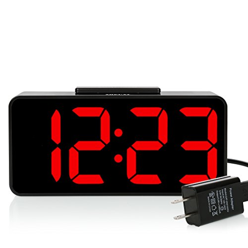 - ZHPUAT Digital Alarm Clock with 8.9 Large LED Display, Dimmer, Snooze and Alarm Control Function for Bedrooms with USB Charger, Battery Backup(Red)