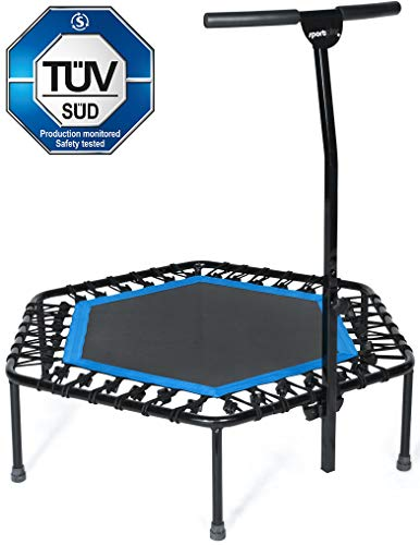 Sportplus Silent Fitness Mini Trampoline with Adjustable Handrail Bar Indoor Rebounder for Adults Best Urban Cardio Jump Fitness Workout Trainer, Covered Bungee Rope System Max Limit 286 lbs