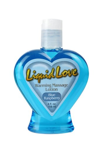 Liquid Love Warming Massage Lotion Blue Raspberry - 4 oz. by Sex Toys Online Store