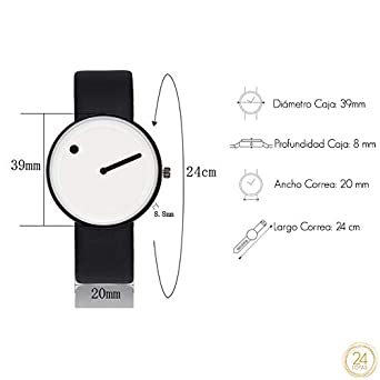 Reloj Unisex Minimalista Punto Raya de Cuarzo y Correa de Cuero Blanco y Negra: Amazon.es: Relojes