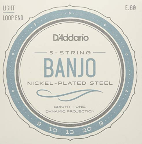 Sets Banjo - D'Addario EJ60 Nickel 5-String Banjo Strings, Light, 9-20