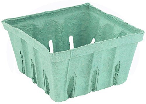 Green Molded Pulp Fiber Berry/Produce 1 Quart Vented Basket/Container by MT Products - (15 Pieces)