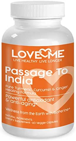 Love Me Nutrition® - Passage to India - High Potency Turmeric, Ginger, Curcumin & BioPerene- Pain Relief, Anti Inflammatory, Antioxidant & Anti-Aging. Natural. No Artificial Ingredients. 60 Vegi Caps