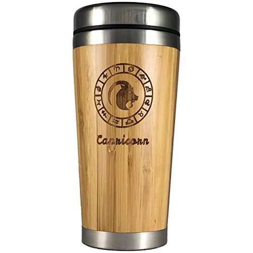The Zodiac Mug | Premium insulated travel mug for Coffee & Tea | Natural bamboo and Stainless Steel | 15.2 oz.(450ml) | Spill Proof Lid | Slip resilient base | Wooden engraving (Capricorn)