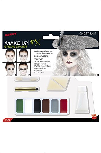 Smiffys Ghost Ship Make-Up Kit in Six Colours with Cream Make-Up, Crayon, Applicator and Two Sponges - White/Black -