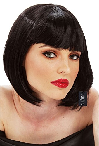 Short Black Bob Wig Bangs Mia Wallace Gatsby Costume 1920s Flapper Wigs Women -