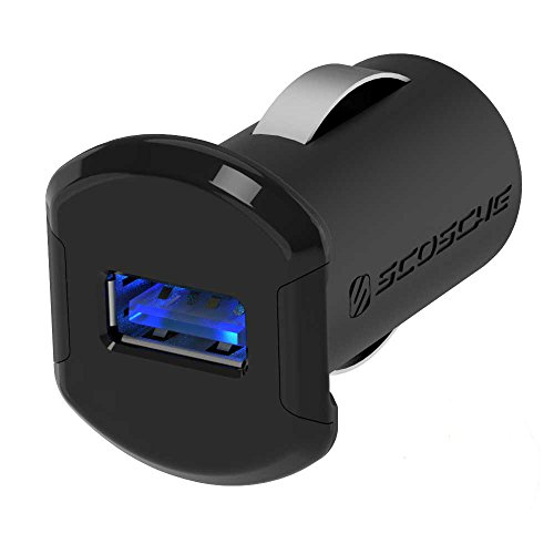 SCOSCHE Revolt Compact Single Port USB Fast Car Charger with Illuminated LED Backlight - 12 Watts/2.4 Amps Total Output - High Speed Universal Device Mobile Charger - Black (USBC121M) (Single Scosche)