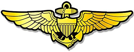 "4.5/""x 11.5/"" yellow//gold vinyl decals NAVAL AVIATOR emblem decal approx"