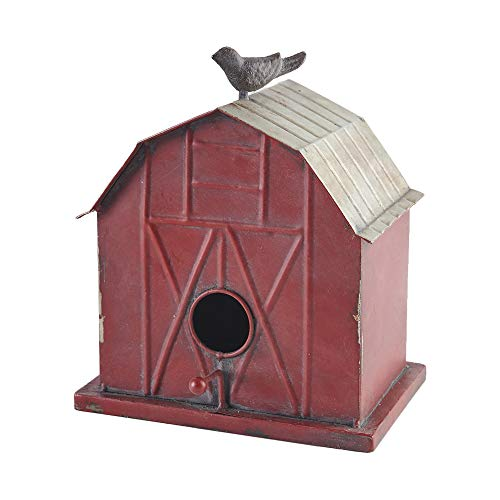 Birdhouse Red Roof - Barn Shaped Highways Days Distressed Red 10 inch Pressed Metal Bird House