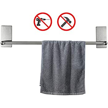 NearMoon Self Adhesive 16-Inch Bathroom Towel Bar- Brushed Nickel Stainless Steel Bath Wall Shelf Rack Hanging Towel Stick On Sticky Hanger Contemporary Style,NO Drilling