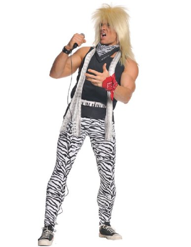 Men's 80's Rocker Zebra Print Costume. Pants, Shirt, Belts, Bandanas