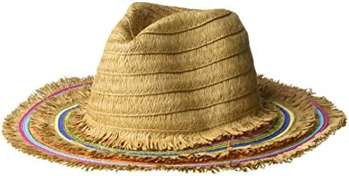 9a608b9ad Betsey Johnson Women's Rainbow Panama Hat with Frayed Edge, Tan, One ...