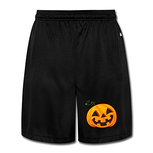 Bekey Mens Halloween Pumpkin Workout Short Size XXL