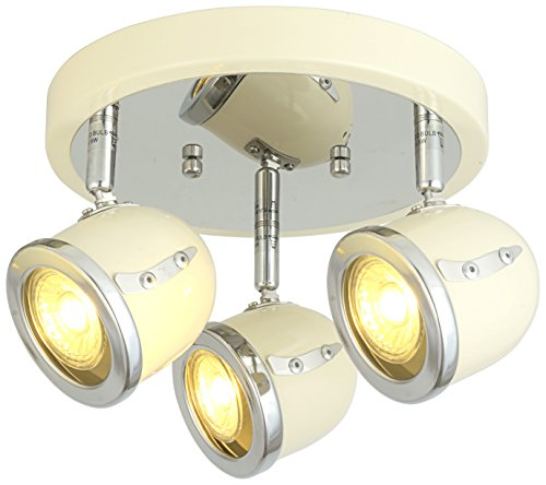 LED Retro Adjustable Eyeball Black &Chrome Ceiling Spotlight (Beige & Chrome, 3 Lights Ceiling)