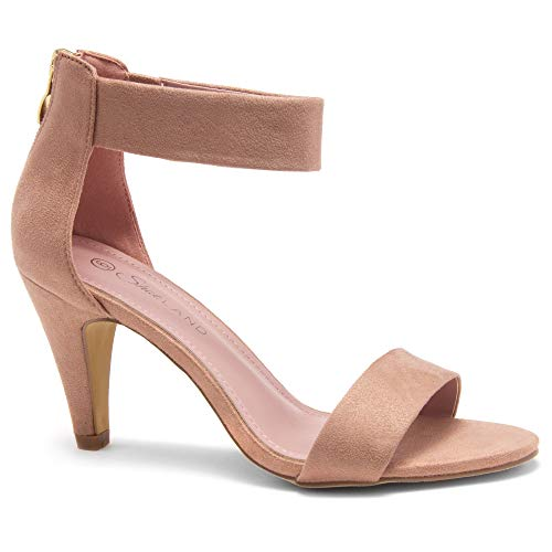 Herstyle RROSE Women's Open Toe High Heels Dress Wedding Party Elegant Heeled Sandals Blush 9.0
