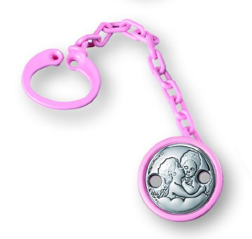 Silver Touch USA Pack Of 6 Pacifier Clip Holder and Leash with Sterling Silver Angels, Pink by Silver Touch USA