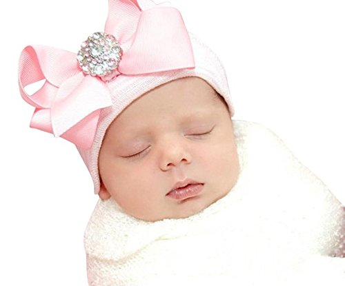 727e38c45c8 Infanteenie Beenie pink and white stripe hat with light pink.