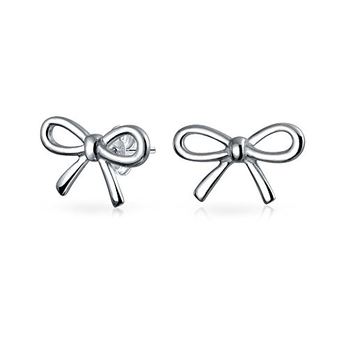 Ribbon Bow Stud earrings 925 Sterling Silver 9mm