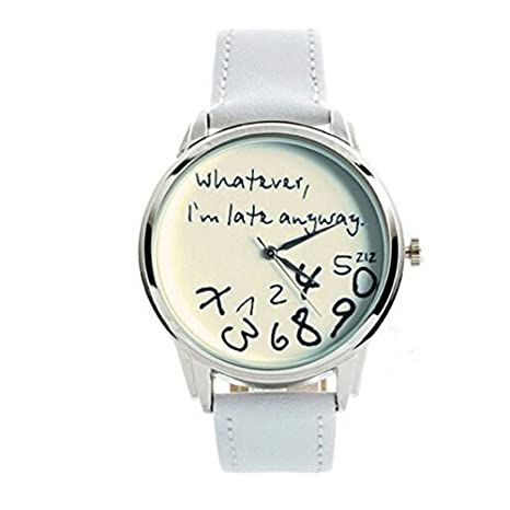 """Whatever, I'm late anyway"" Print Leather Women Men Silver Quartz Watch White"