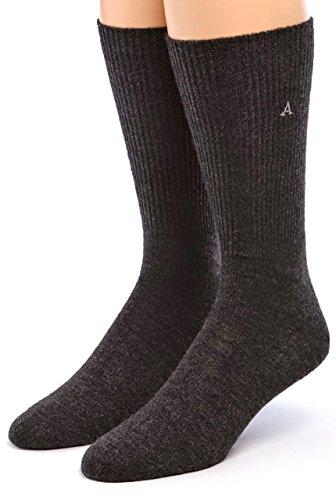 Warrior Alpaca Socks - Men's Premium Baby Alpaca Wool Dress Socks (Charcoal L)